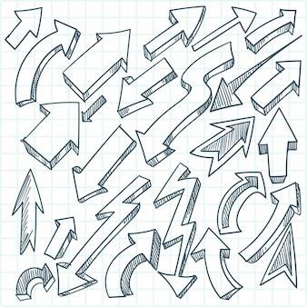 Handgetekende doodles pijlen schets collectie
