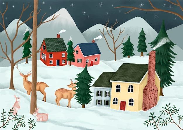 Handgetekende dorp op een sterrennacht met herten en konijnen in de buurt