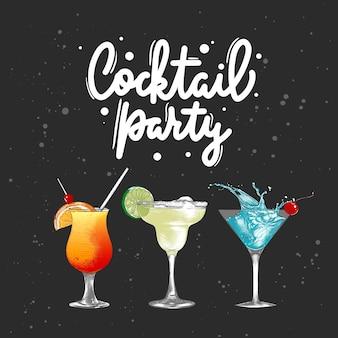 Handgetekende drank- of drankschets met belettering cocktailparty gedetailleerde kleurrijke tekening