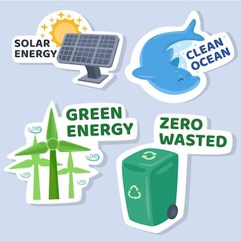 Handgetekende ecologie badge collectie ontwerp