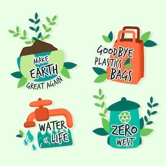 Handgetekende ecologie badges concept