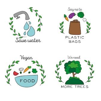 Handgetekende ecologie badges stijl