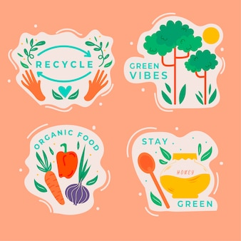 Handgetekende ecologie badges thema