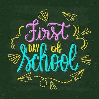 Handgetekende eerste schooldag belettering
