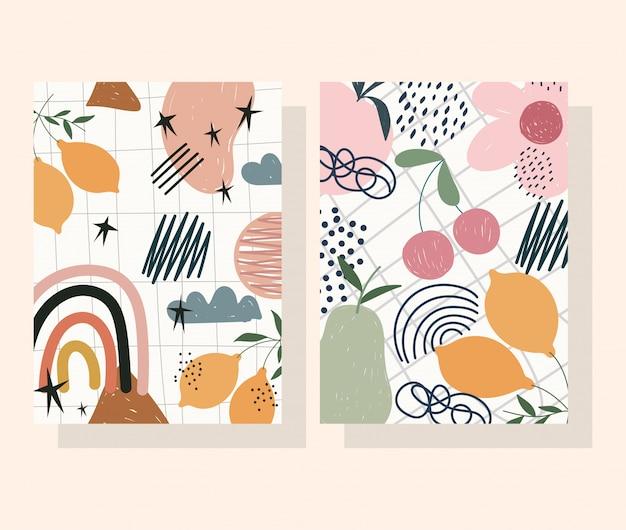 Handgetekende eigentijdse, bloemvruchten decoratie trendy print collage kleurenbanners