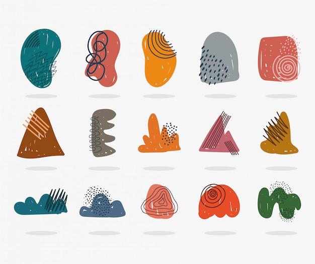 Handgetekende eigentijdse, trendy printcollagekleur