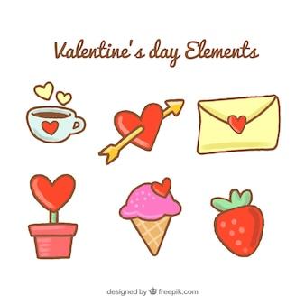 Handgetekende elementen klaar voor valentijnsdag