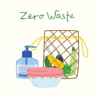 Handgetekende elementen van leven zonder afval in vector. eco-stijl. geen kunststof. ga groen in de platte stijl