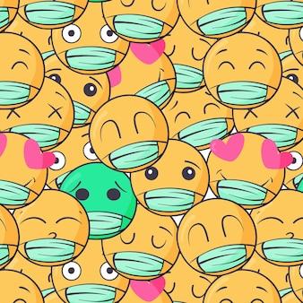 Handgetekende emoji met gezichtsmaskerpatroon