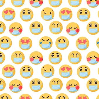 Handgetekende emoji met gezichtsmaskerpatroon Premium Vector