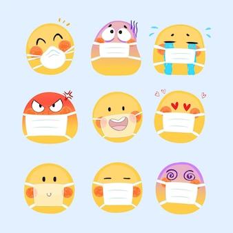 Handgetekende emoji's met gezichtsmasker
