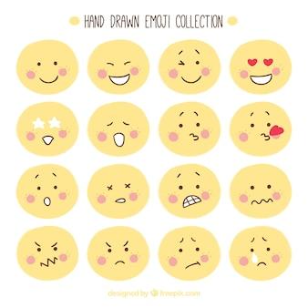 Handgetekende emoticon collectie