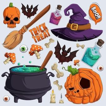 Handgetekende enge halloween-elementencollecties