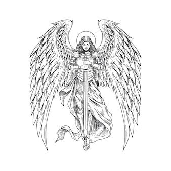 Handgetekende engelen brengen zwaard