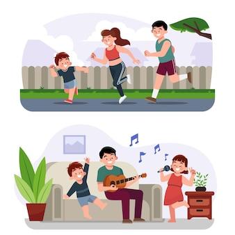 Handgetekende familie rennen en zingen illustratie