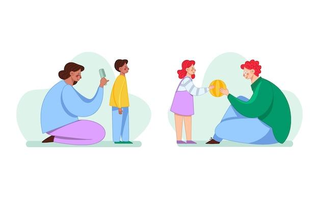 Handgetekende familiescènes met kinderen
