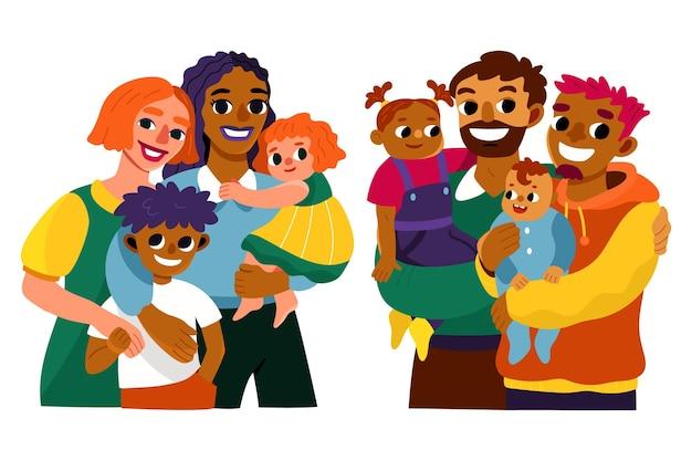 Handgetekende familiescènes met plat ontwerp