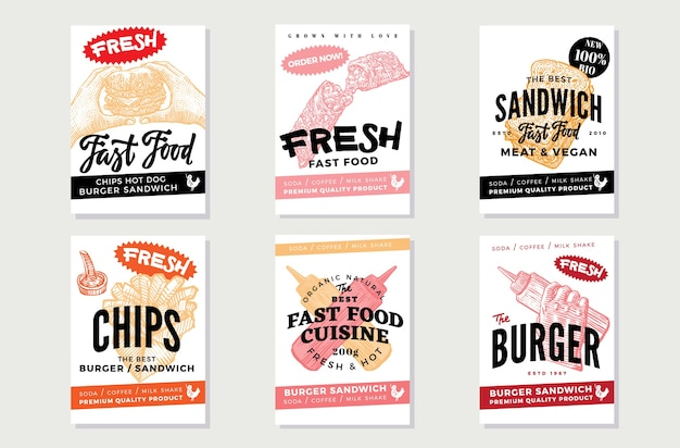 Handgetekende fast food-flyer