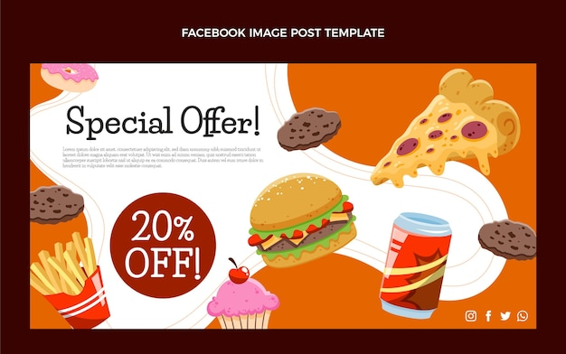 Handgetekende fastfood facebookpost