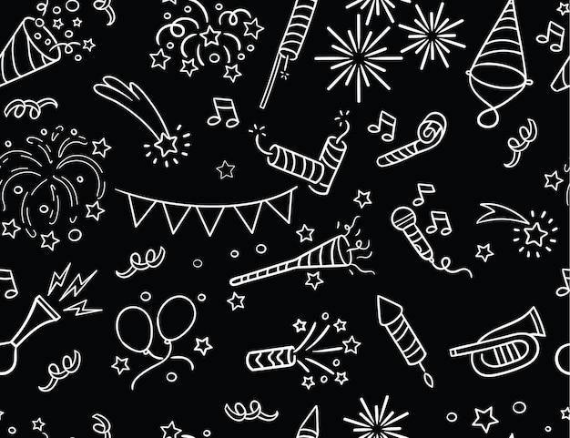 Handgetekende feest- en vieringspatroon
