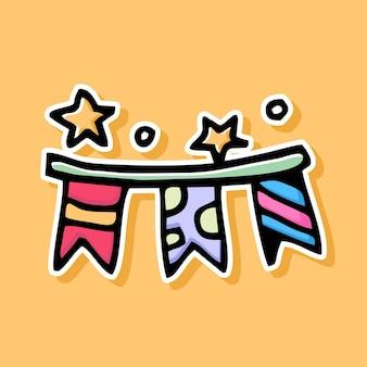 Handgetekende feestvlaggen cartoon design