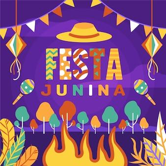 Handgetekende festa junina concept