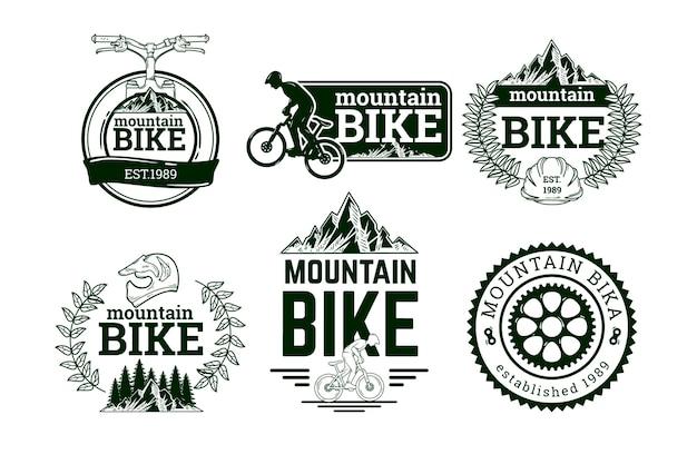 Handgetekende fietslogo-collectie
