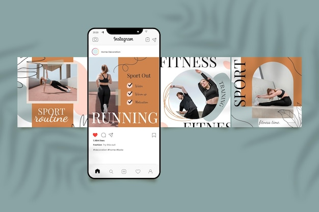 Handgetekende fitnesspostset met foto