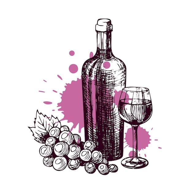 Handgetekende fles wijn met een glas en een tros druiven schets voor het drankenmenu van het restaurant