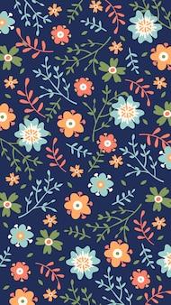 Handgetekende floral achtergrond voor mobiel