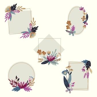 Handgetekende floral frame-collectie