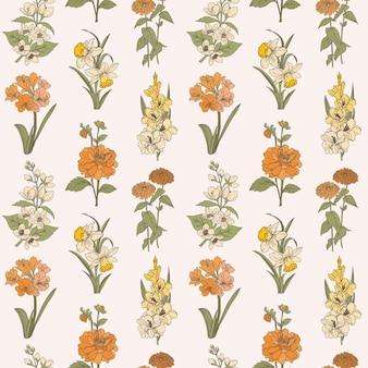 Handgetekende floral vector naadloze patroon mode textiel achtergrond zinnia en andere bloemen