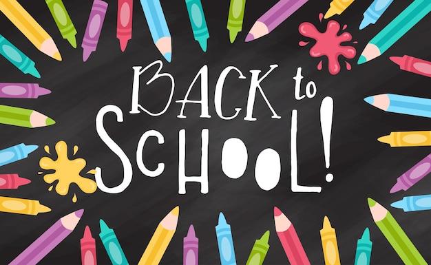 Handgetekende flyers-sjabloon voor schoolproducten doodle terug naar schoolachtergrond