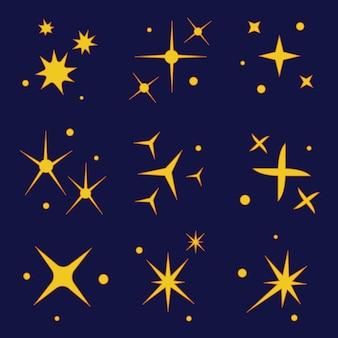 Handgetekende fonkelende sterrencollectie