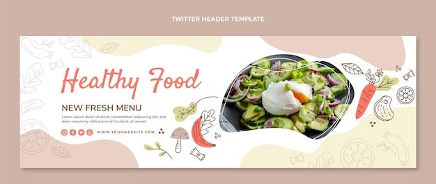 Handgetekende food twitter header-sjabloon