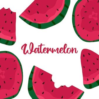 Handgetekende frame gemaakt van watermeloen patroon van sappige smakelijke watermeloenen