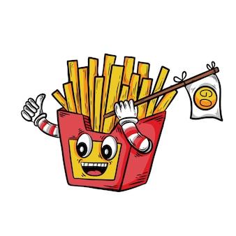 Handgetekende franse frietjes met vrolijke expressie