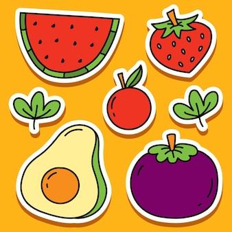 Handgetekende fruit doodle cartoon sticker ontwerp