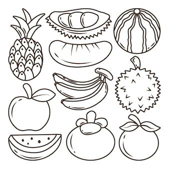 Handgetekende fruit items cartoon doodle bundel kleuren