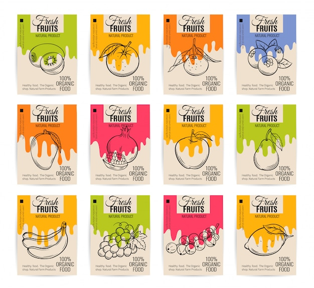 Handgetekende fruit posters