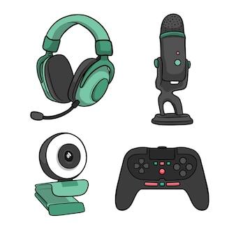 Handgetekende game streamer conceptelementen
