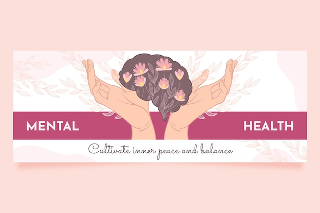 Handgetekende geestelijke gezondheid facebook-omslag