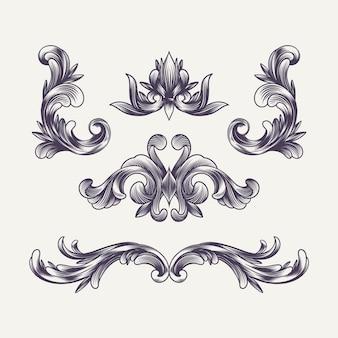 Handgetekende gegraveerde barokke elementen en decoratie