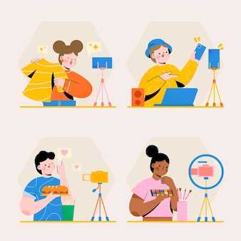 Handgetekende geïllustreerde bloggers die filmen