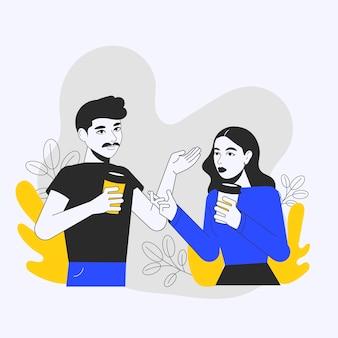 Handgetekende geïllustreerde mensen met warme dranken