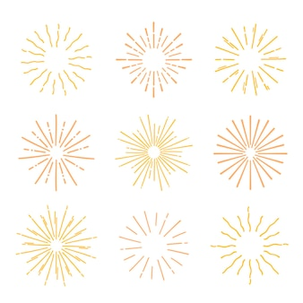 Handgetekende gele sunburst-collectie