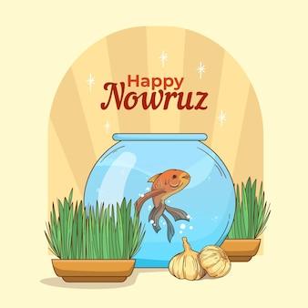 Handgetekende gelukkig nowruz illustratie met goudvissenkom en spruiten