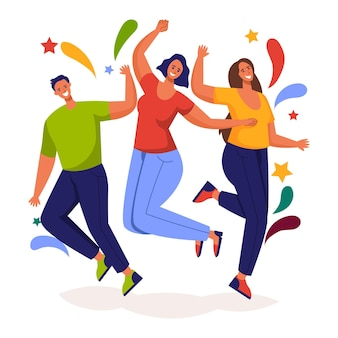 Handgetekende gelukkige mensen springen