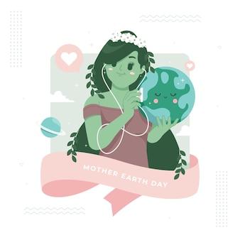Handgetekende gelukkige moeder aarde dag afbeelding achtergrond
