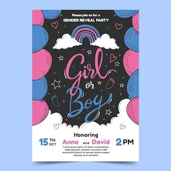 Handgetekende gender reveal uitnodiging